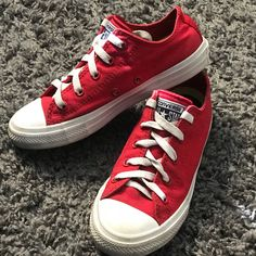 c6f2e84a63d2 Shop Kids  Converse Red size Sneakers at a discounted price at Poshmark.  Description  Red and white All Stars Size Sold by Fast delivery