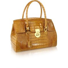 L.A.P.A. Handbags Camel Croco Stamped Genuine Leather Satchel Bag ($890) ❤ liked on Polyvore featuring bags, handbags, leather satchel handbags, brown leather handbags, brown leather purse, genuine leather handbags and brown satchel purse