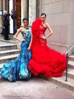 Ladies in beautiful Christian Siriano gowns.
