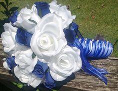 Bridal Bouquet, 22 Rose Colors, Rose Bouquet, White Blue Bouquet, Royal Blue Bouquet, Royal Blue, Blue white Bouquet, Royal Blue White