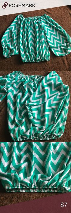 Real green sheer chevron top Three quarters sleeve sheer teal green top. Very light weight. No tags but never worn. Smoke free home Emma Rose Tops Blouses