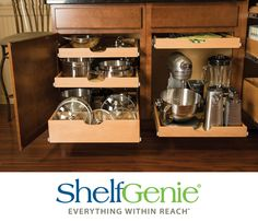 #HomeTip: Put your pots, pans and appliances within easy reach with full-extension pull out shelves made to fit your existing cabinets!