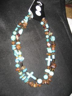 Double Strand TurquoisenBrown Necklace by cthorses66 on Etsy, $18.00