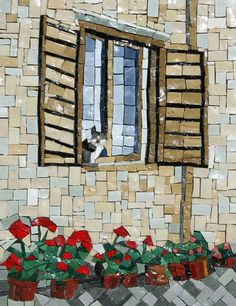 cat in the window with geraniums mosaic