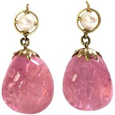 Large Pink Tourmaline Pearl Gold Dangle Earrings