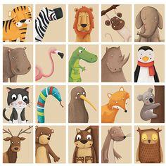 Animal printable, Nursery Art print your own. Woodland,  jungle , farm, zoo animals, printable from 1 to 6 piece set /  animal pdf files