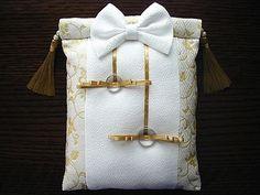 封じ袋形の神前式用リングピロー オリジナルデザインのハンドメイド品