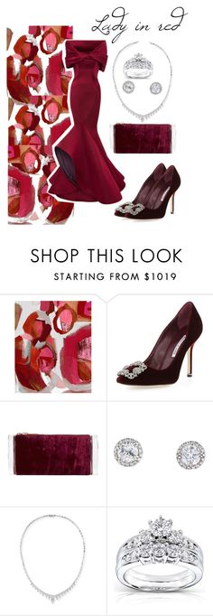 """""""Lady in red"""" by mimivasilevak ❤ liked on Polyvore featuring Wendover Art Group, Manolo Blahnik, Edie Parker, Stephen Webster, Kobelli and Zac Posen"""