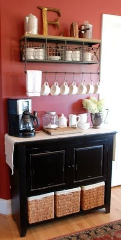 Coffee bar. ♥ this is really cute… would clear up counter space! | How Do It