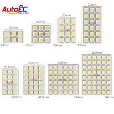 AutoEC 4X Led Panel 6/9/12/15/18/24/36/48 SMD 5050 T10 Ba9s Adapter Festoon Dome Light Accessories Car Auto motor DC12V #LL13