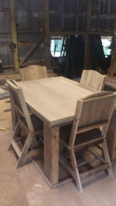 Barn Wood Table With 4 Chairs By Barn Wood Furniture, Eddie Abernathy