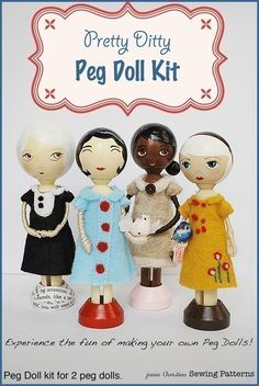 Pretty Ditty Peg Doll Kit - Clothespin Doll Kit. $12.00, via Etsy.