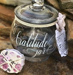 Excited to share the latest addition to my #etsy shop: Gratitude Jar - Large Glass Gratitude Jar - Blessings Jar - Memory Keepsake Jar - Count your Blessings Jar