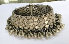 Antique ethnic tribal old silver Anklet Bracelet (sankali or paizeb). Handcrafted silver antique anklet worn by tribal people of Rajasthan India. Original old piece in good condition. Tribal Jewelry, Silver Jewelry, Anklet Bracelet, Bracelets, Tribal People, Silver Anklets, Rajasthan India, Belly Dance, Antiques