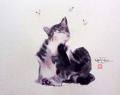 Коты Yutaka Murakami — акварельные и пушистые - Ярмарка Мастеров - ручная работа, handmade