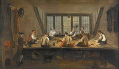 This painting by an unknown artist illustrates the interior of a typical London tailor's workshop in the second half of the eighteenth century. -c 1780 - Museum of London Rococo, Baroque, Google Art Project, Tailor Shop, London Museums, Art Uk, Art Google, 18th Century, Oil On Canvas