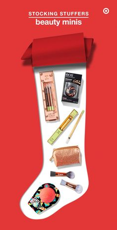 Mini but mighty beauty faves that are perfect as white elephant gifts, stocking stuffers and secret Santa surprises: Pixi Endless Silky Eye Pens; Eos Coral Shimmer Lip Balm; e.l.f. Holiday Gold Lipstick Case; Real Techniques Mini Sculpting Brush and Mini Contour Brush; and Da Bomb Bath Fizzers Santa Bomb.