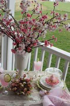 Cherry Blossoms. Cupcake under cloche. Bird's nest.