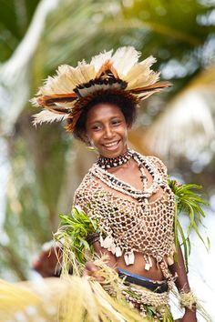 PNG Young Girl in Traditional Dress