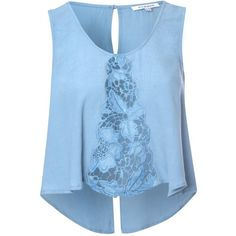 Blue Swing Top With Sheer Lace Front ($13) ❤ liked on Polyvore featuring tops, blue, holiday tops, scoop neck top, swing crop top, crop top and cocktail tops