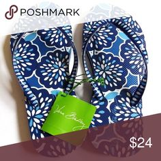 "NWT Vera Bradley Flip Flops in Petal Splash! NWT Vera Bradley Flip Flops! Pattern: Petal Splash! Sold out, gorgeous blue pattern! Size: Large. VB sizes large flip flops as fitting sizes 9-10! VB flip flops ""have a soft and flexible rubber sole that provides all-around comfort."" Details: Textured anti-slip outer sole Soft sole Dimensions: S: 5 - 6, M: 7 - 8, L: 9 - 10. TRADES. Vera Bradley Shoes Sandals"