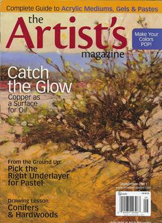 Artists magazine Copper oil surface Pastel underlayer Conifers and hardwoods