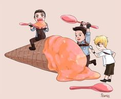 Look at Newt. Then look at Thomas. Then Minho. Someone isn't trusting enough to eat.