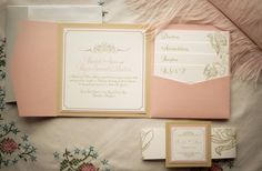 gilded wedding invitations Etsy weddings stationery vintage orchid pastel coral ivory 1