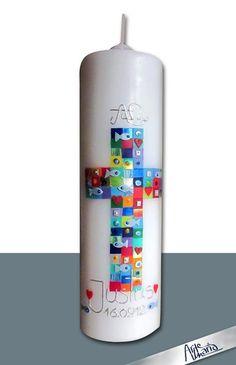Taufkerzen - Künstler-Taufkerze/ Mosaik 'Alle deine Farben' Bub - ein Designerstück von arte-maria bei DaWanda