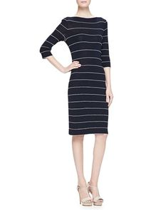 Elbow-Sleeve+Striped+Knit+Dress,+Navy+by+Armani+Collezioni+at+Neiman+Marcus.