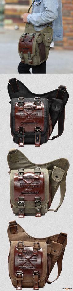 US$31.89 + Free shipping. Men Bag, Canvas Bag, Retro Bag, Travel Bag, Cycling Bag, Crossbody Bag, Chest Bag. Color: Brown, Black, Army Green. Material: Canvas. Old School Fashion.