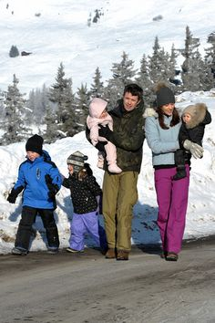 Your Sweet Remedy:  Danish Royals-Prince Christian, Princess Isabella, Crown Prince Frederick with Princess Josephine, and Crown Princess Mary with Prince Vincent in Verbier, Switzerland