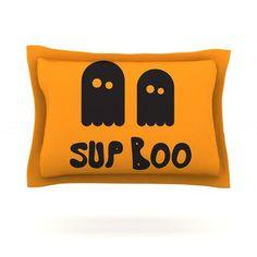 KESS InHouse Sup Boo Featherweight Pillow Sham Size: King, Fabric: Cotton