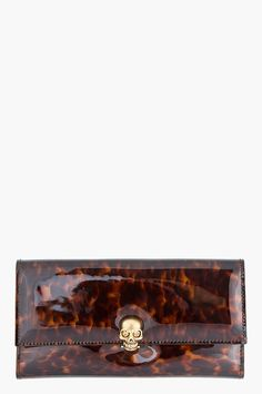 503f709e98c8 Alexander Mcqueen Brown Tortoiseshell Patent Leather Skull clasp  Continental Wallet - Alexander Mcqueen Brown Tortoiseshell Patent Leather