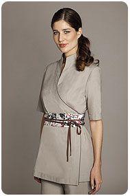 Florence roby beauty uniforms beauty tunics salon wear for Spa receptionist uniform design