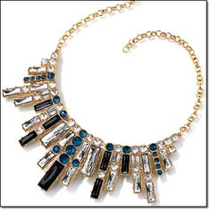 Stand Out Statement Necklace Goldtone with black, clear and royal blue faux stones.   the statement maker!  JUST ADD FLASH Make a statement in a stop-and-stare necklace. http://jgoertzen.avonrepresentative.com/