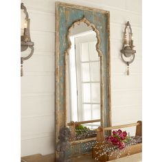 Check out Distressed Painted Wood Mirror from Shades of Light Moroccan Mirror, Moroccan Decor, Mirror Painting, Painting On Wood, Distressing Painted Wood, Distressed Mirror, French Country Furniture, Diy Mirror, Wall Of Mirrors