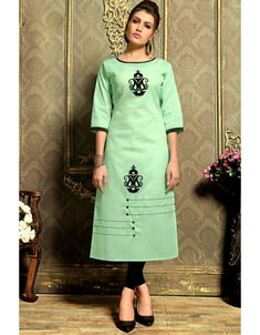 Mint green ready made kurti. Accessories shown in the image is not the part of standard product.Please Note: This product can be made available only in the measurements given in the abov Kurti Designs Party Wear, Kurta Designs, Blouse Designs, Cotton Kurtis Online, Khadi Kurti, Kurti Embroidery Design, Embroidery Patterns, Formal Dresses With Sleeves, Kurti Patterns
