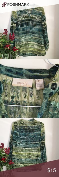 Chico's Top Tunic style long sleeve in a light weight nylon and rayon. Greens and blue print v neck. Excellent condition Chico's Tops Tunics