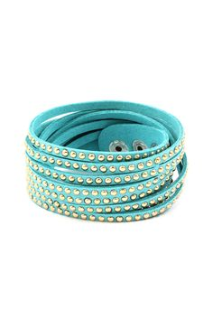 Gold Dotted Aggie Bracelet in Turquoise