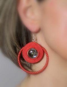 Soutache Jewelry Soutache Earrings Nectarine Earrings by Herinia, $35.00
