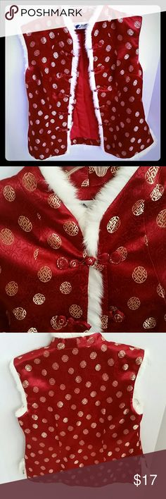 Vintage Burgundy Asian Motif Vest Gorgeous burgundy (deeper red than in the pics) vest with gold thread Asian symbol pattern. Also matching burgundy thread pattern, giving it more texture, and faux white fur trim. Frog closures. Lightly quilted lining. Probably 1960s, made by Zhujun. Possibly silk, but there is no fabric content tag. In great vintage condition. Would best fit a modern medium. Vintage Jackets & Coats Vests