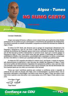 Carta do Candidato Cabeça de Lista pela CDU à Junta de Freguesia de Algoz e Tunes.  Autarquias 2013. #Silves #Algoz #Tunes #CDU #Autárquicas2013