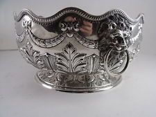 ENGLISH HALLMARKED SILVER PLATE PUNCH BOWL FLORAL SWAGS LION HEADS ETC.