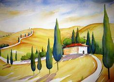 Tuscany Hills Painting  - Tuscany Hills Fine Art Print