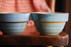 blue crockery bowls