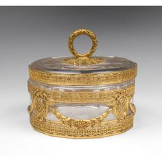 Belle Epoque Crystal And Gilt Bronze Powder Box from Pia's Antique Gallery on Ruby Lane