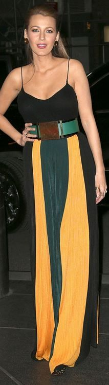 Who made  Blake Lively's yellow and black stripe pants and belt ?