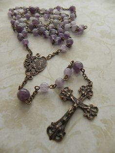 Miraculous Mary Rosary in Chevron Amethyst and Antique Bronze
