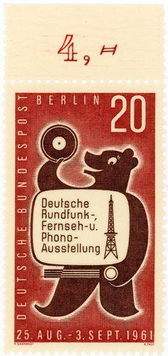 vintage postage stamps, Germany (West Berlin) postage stamp: bear c....